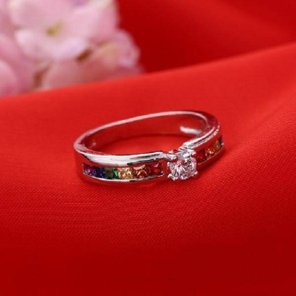 Rhinestone Rainbow Ring