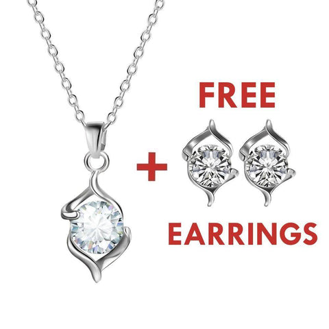 Silver Crystal Necklace (plus FREE earrings!) - Exotic Land Imports