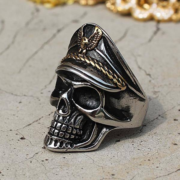 """Admiral Skull"" Stainless Steel Ring - Exotic Land Imports"