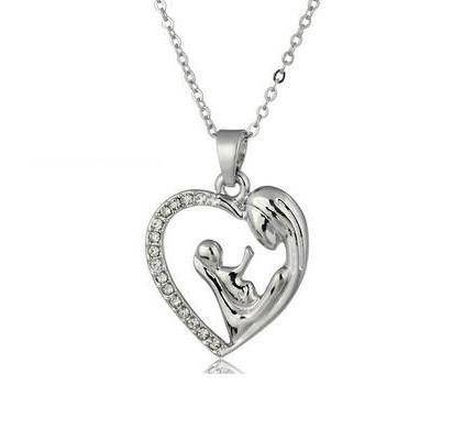 """Mother and Baby"" Heart Necklace - Exotic Land Imports"