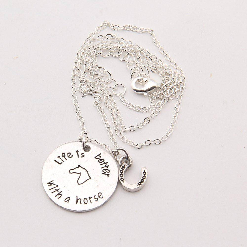"""Life is Better With a Horse"" Necklace - Exotic Land Imports"