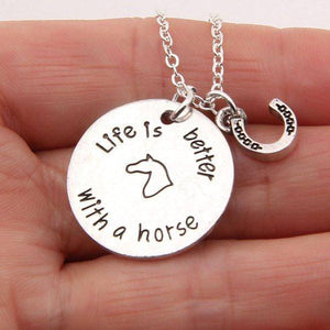 """Life is Better with a horse"" Necklace"