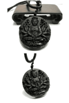 Black Obsidian Guanyin Pendant Necklace - Exotic Land Imports