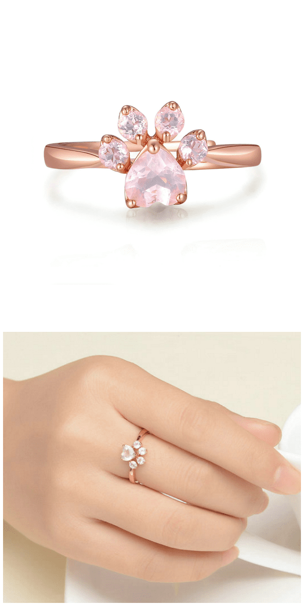 Paw Rose Quartz Ring For Sale - Free Worldwide Shipping