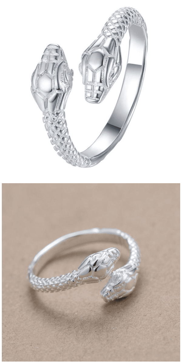 Twin Head Snake Ring For Sale - Free Worldwide Shipping