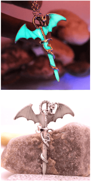 Glow in the Dark Dragon Sword Necklace - Exotic Land Imports