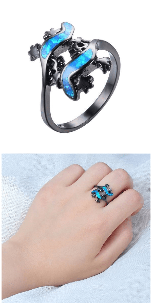 Lizard Couples Blue Opal Ring For Sale - Free Worldwide Shipping