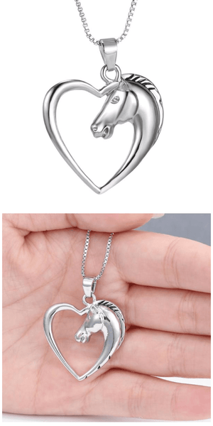 Silver Heart Horse Necklace For Sale - Free Worldwide Shipping