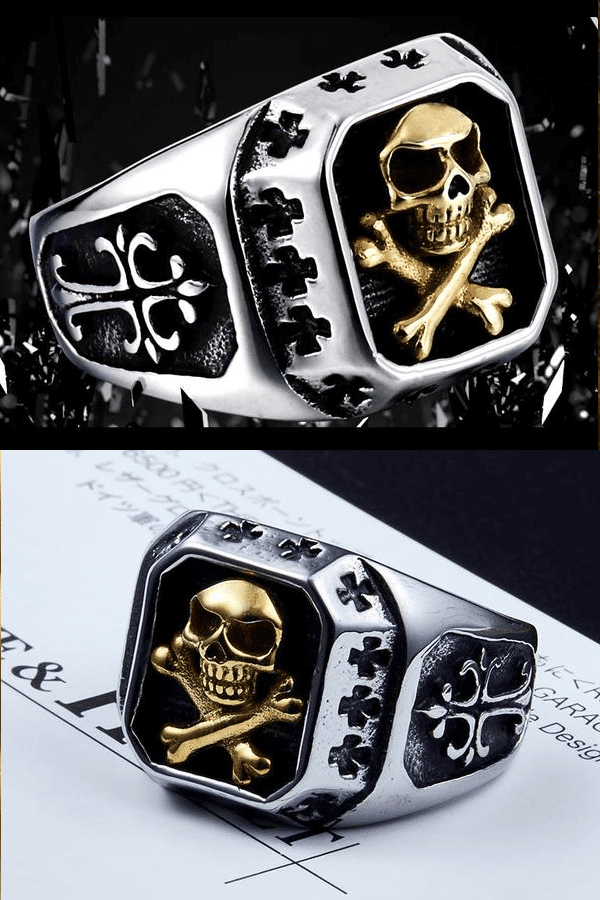 """Skull and Bones"" Stainless Steel Ring - Free Worldwide Shipping"
