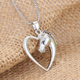 Silver Heart Horse Necklace - Exotic Land Imports