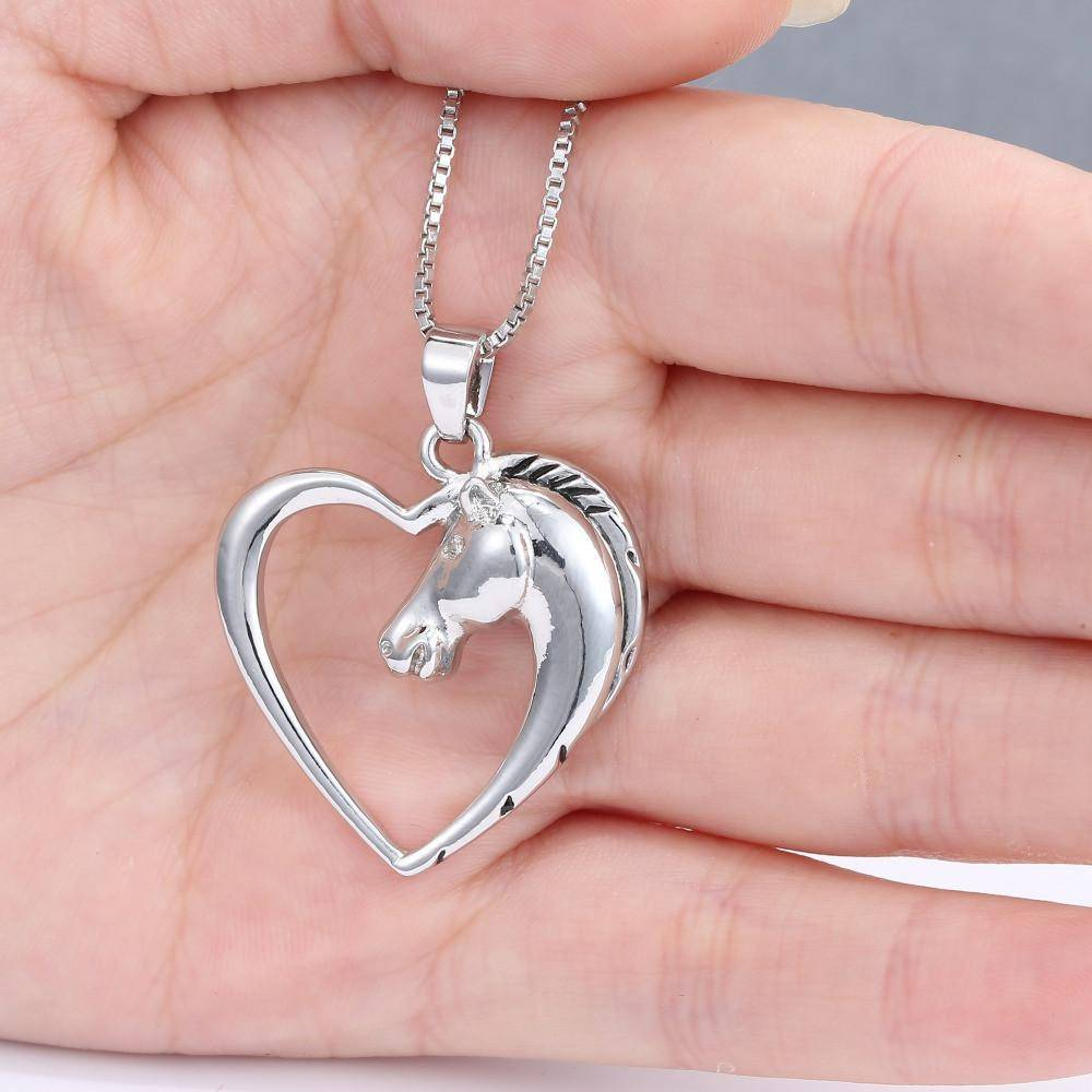 Silver Heart Horse Necklace