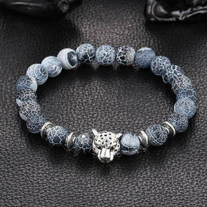 Antique Stone Beaded Bracelet /w Silver Plated Leopard Head