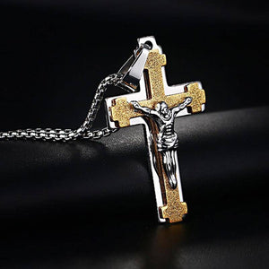 Gold & Silver Crucifix Pendant Necklace