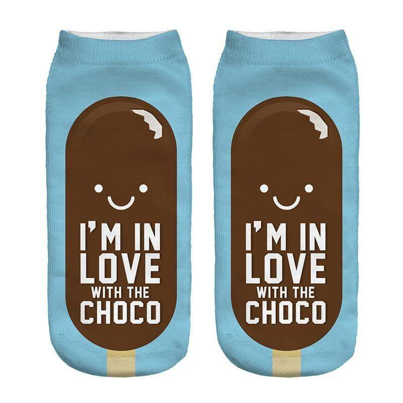"""I'm In Love With The Choco"" Low Cut Socks"