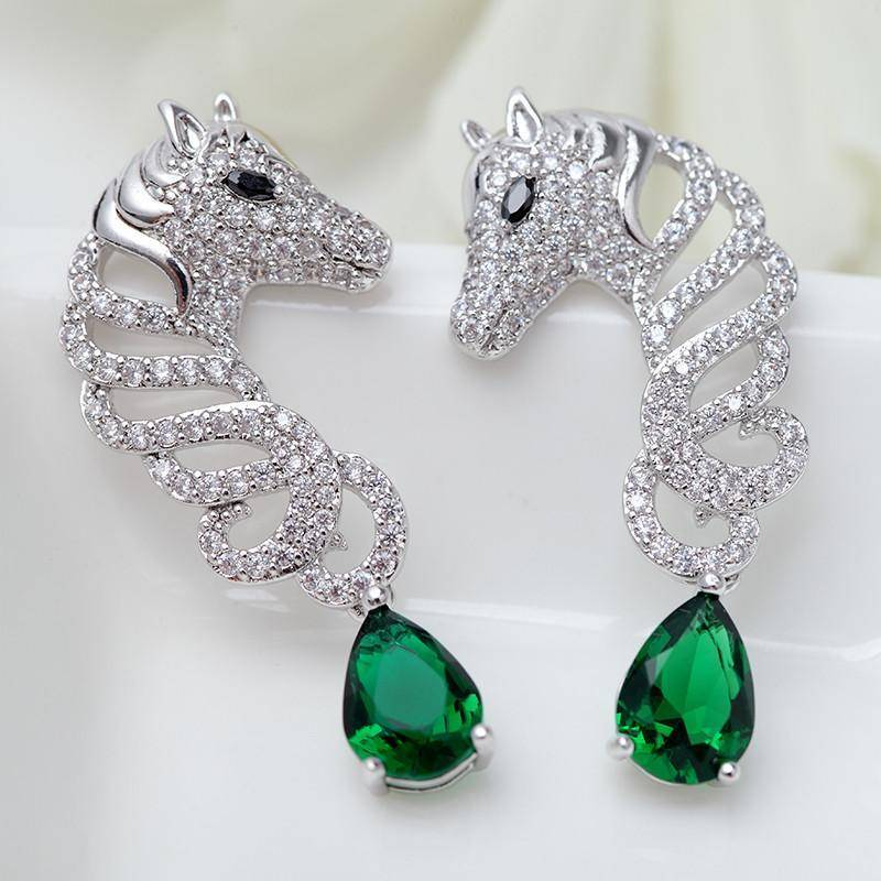 Unique Crystal Horse Earring