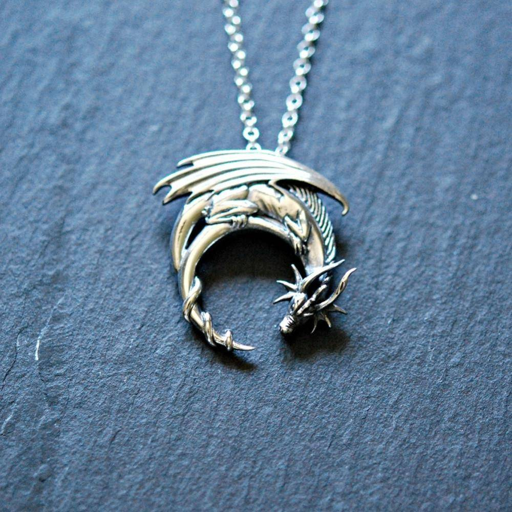 """The Dragon Embraces The Moon"" Necklace - Exotic Land Imports"