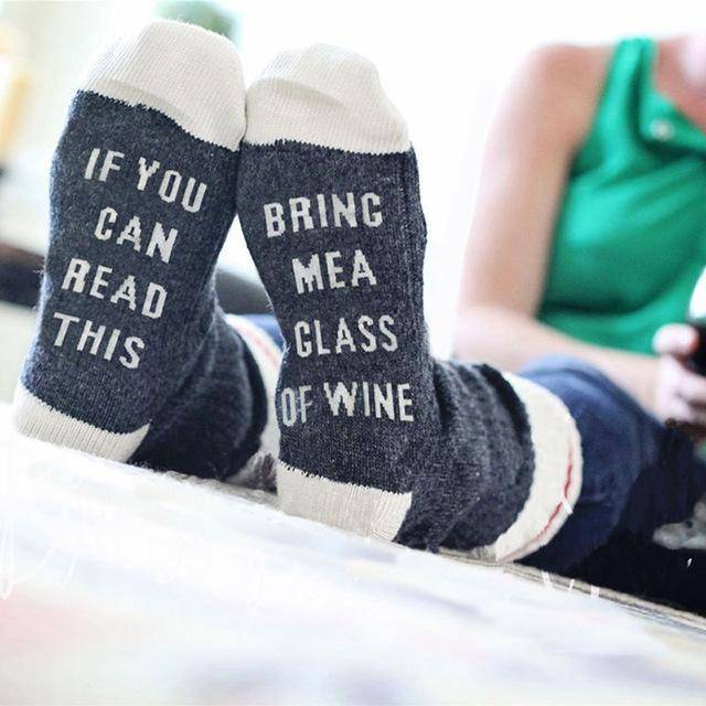 """If You Can Read This, Bring Me A Glass Of Wine"" Socks For Sale"