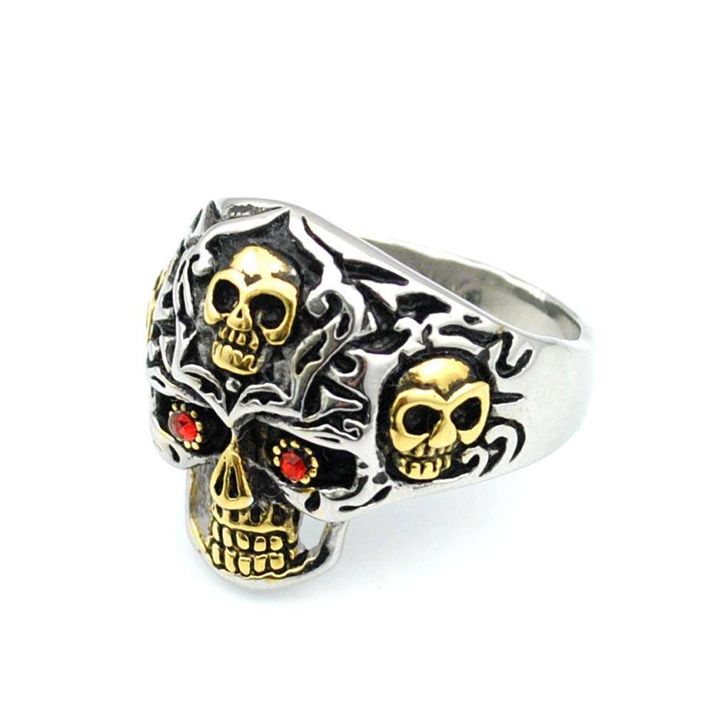 """Ancient Skull"" Stainless Steel Ring - Free Worldwide Shipping - Exotic Land Imports"