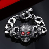 """Red Eyes Skull"" Stainless Steel Bracelet - Free Worldwide Shipping - Exotic Land Imports"