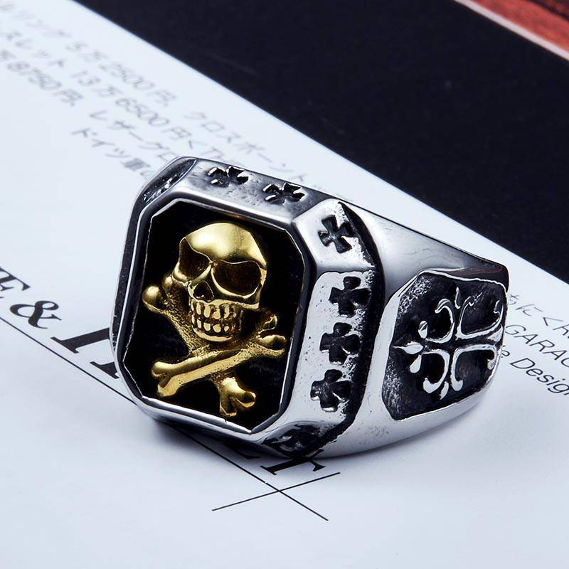 """Skull and Bones"" Stainless Steel Ring - Free Worldwide Shipping - Exotic Land Imports"