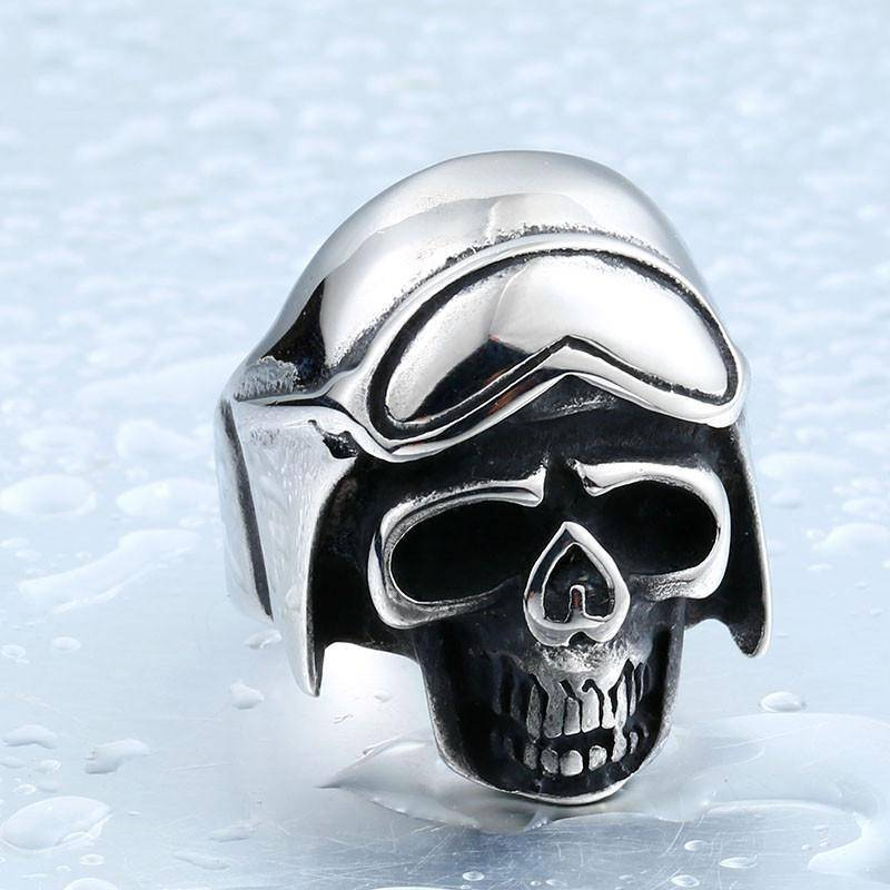 """Biker Skull"" Stainless Steel Ring - Free Worldwide Shipping - Exotic Land Imports"