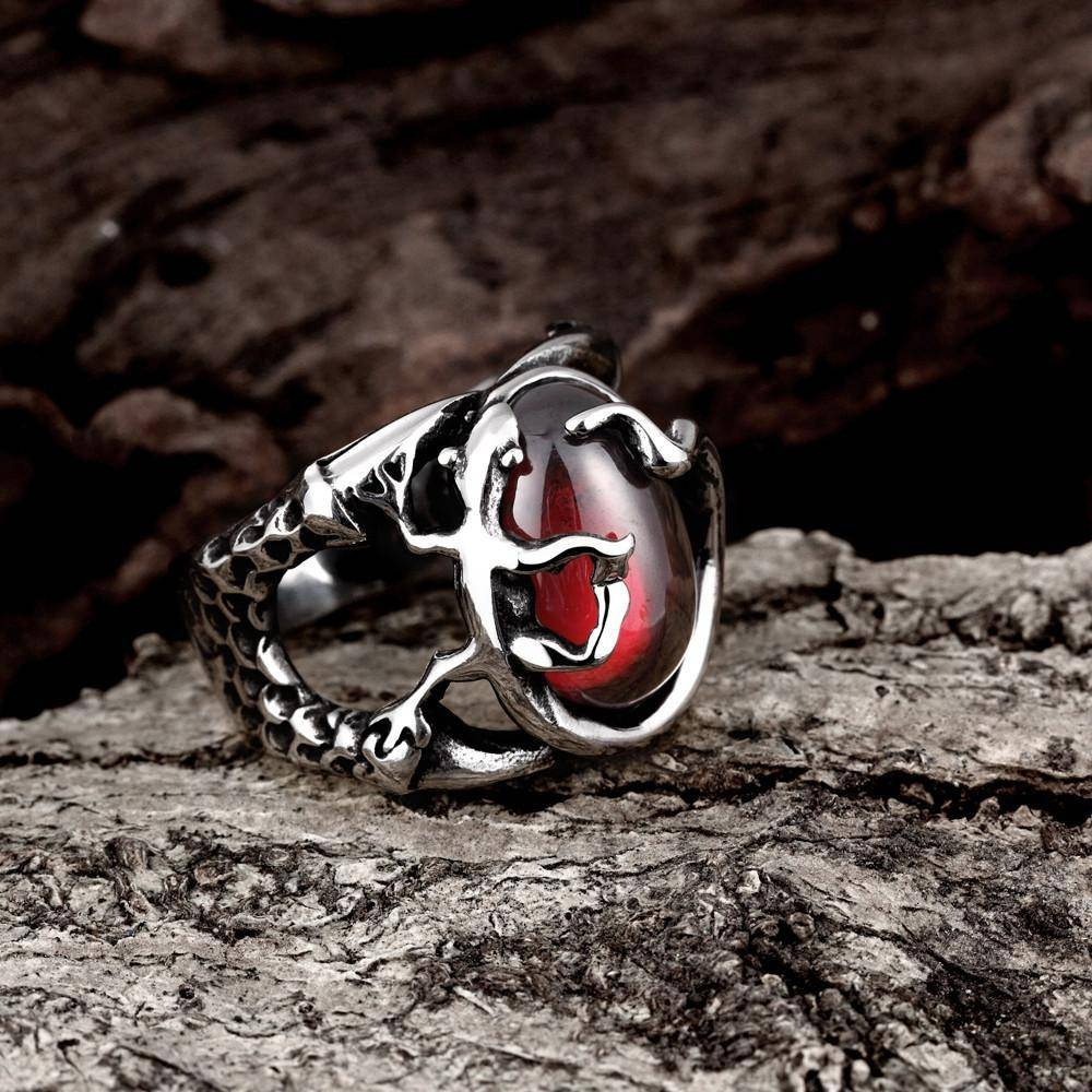 Gecko Red Stone Silver Ring