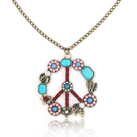 """Peace Symbol"" Vintage Necklace - Exotic Land Imports"