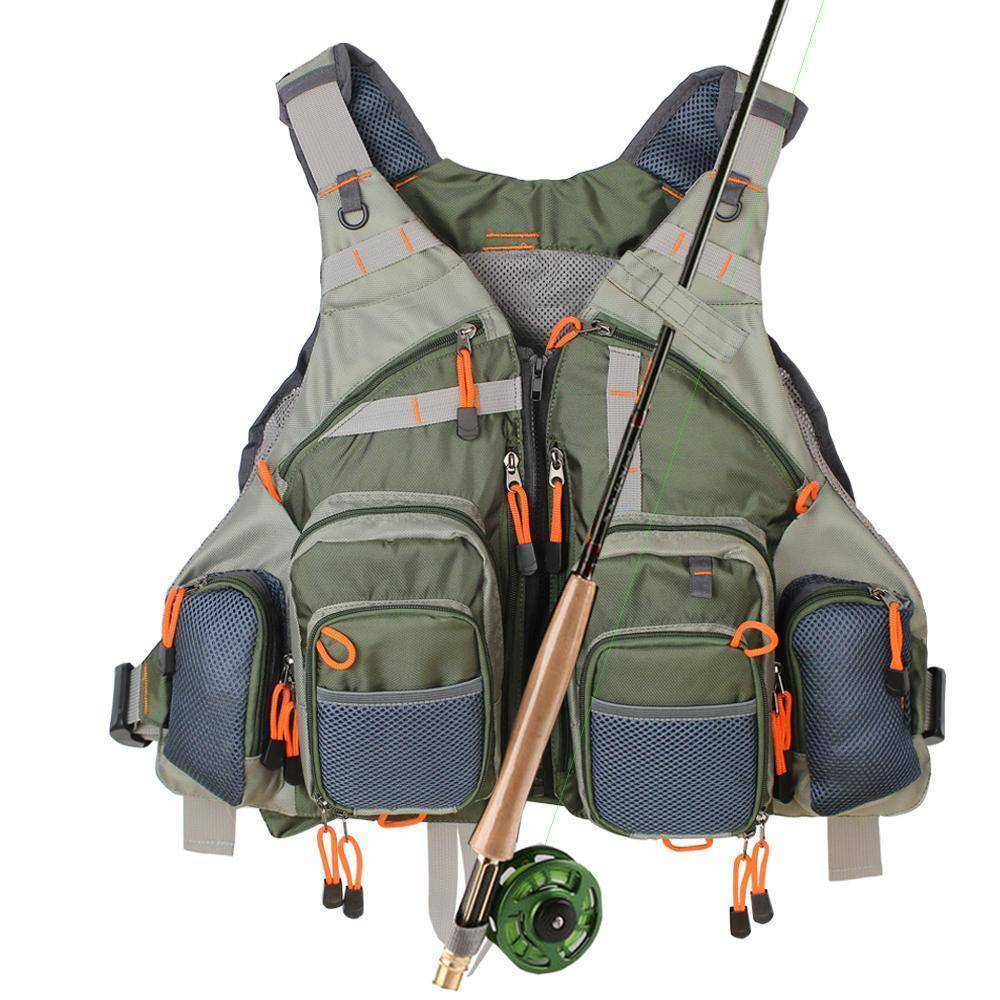 Fly Fishing Vest With Rod Holder 12 Pockets For Sale