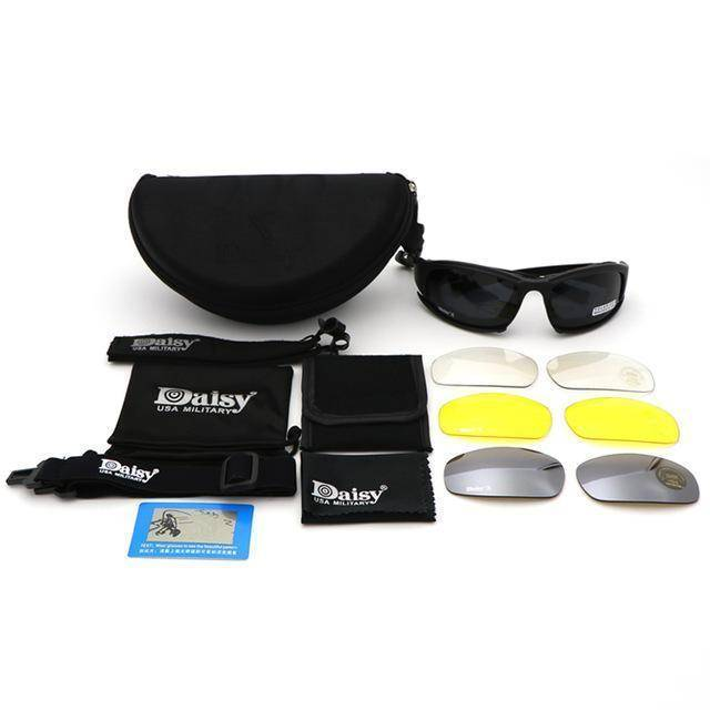 Shatterproof Polarized Military 4 Lens Sunglasses For Sale - Black
