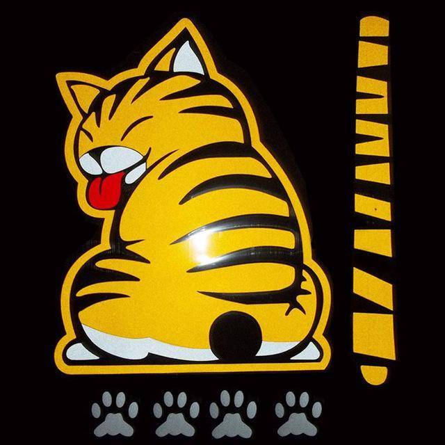 Moving Tail Kitty Car Decal - Exotic Land Imports