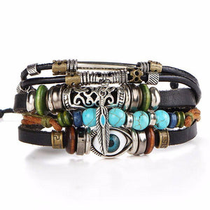 "Multilayer ""Evil Eye"" Leather Bracelet - Exotic Land Imports"