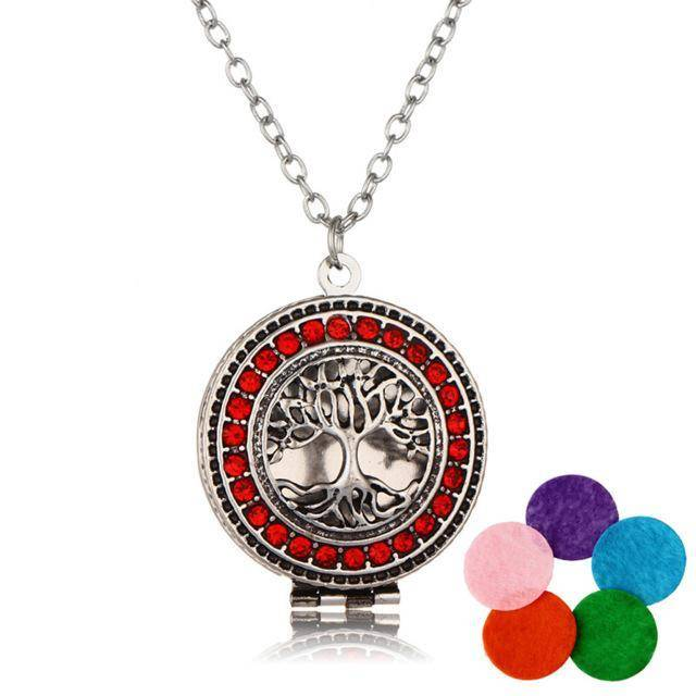 Stainless Steel Essential Oil Diffuser Locket Tree Of Life Necklace For Sale Red