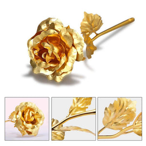 24 Carat Gold Rose For Sale