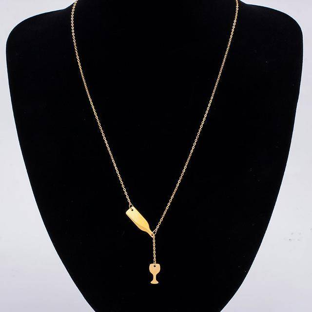 Gold wine bottle & glass necklace