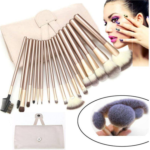 18 Piece Make up Brush Set - Professional Premium Synthetic Hair with Wooden Handles with PU Travel Pouch - Exotic Land Imports