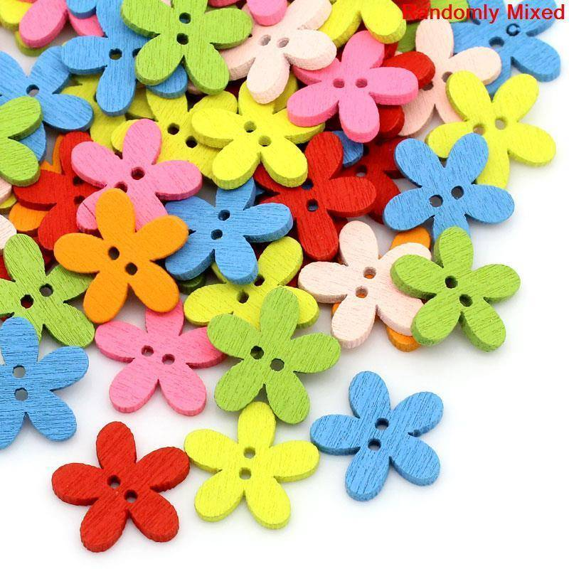 Wooden Flower Buttons (2 Holes) For Sale - Free Worldwide Shipping