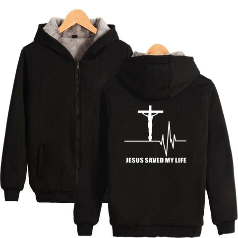Jesus Saved My Life Winter Hooded Zip Up - He Did... Save My Life - Exotic Land Imports