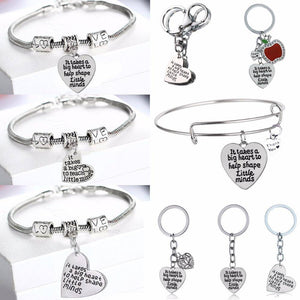 Teacher Heart Bracelet. Keychain, Bangle - Great Gifts! - Exotic Land Imports