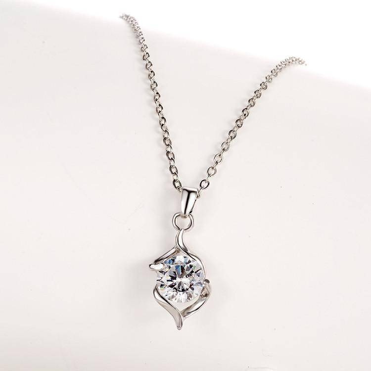 Silver Crystal Necklace (plus FREE earrings!)