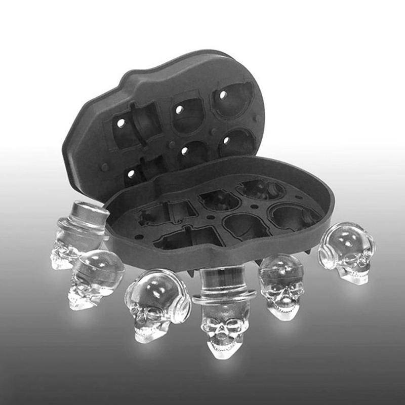 6 Grid 3D Skull Silicone Ice Mold Silicone - Exotic Land Imports