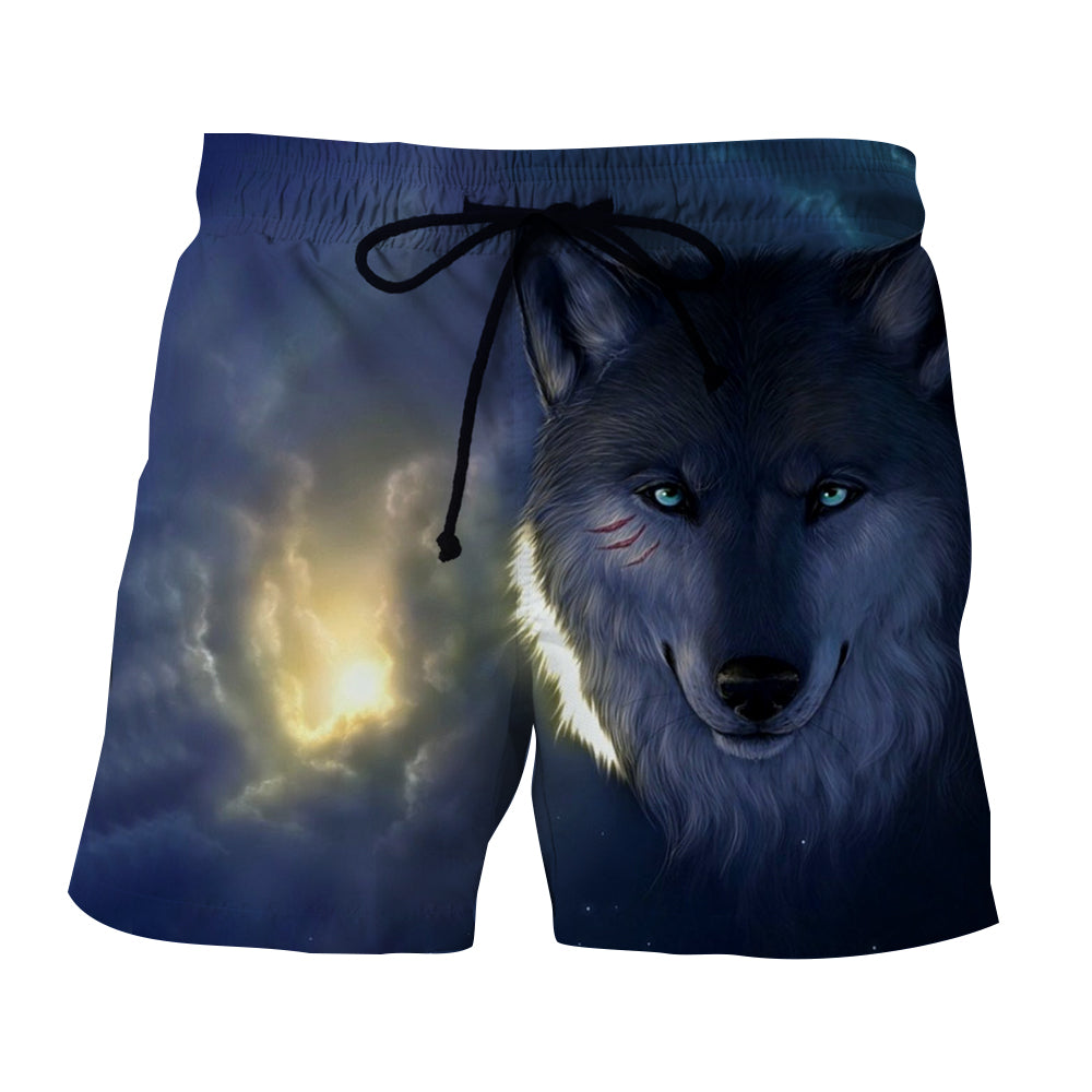 Smiling Mysterious Wolf Cloudy Sky Fashionable Boardshorts