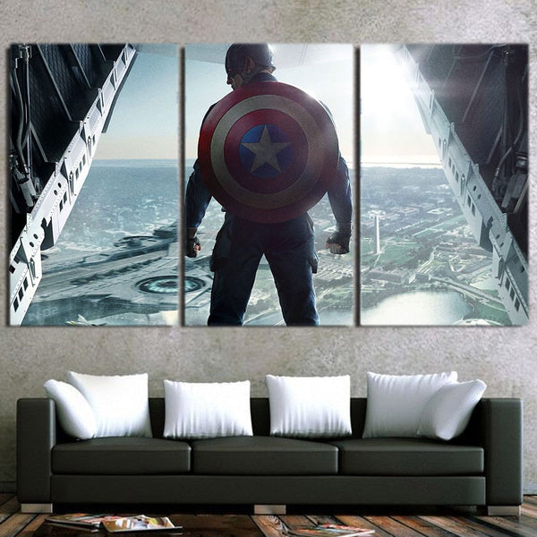 Captain America Standing With His Shield 3pcs Canvas Horizontal