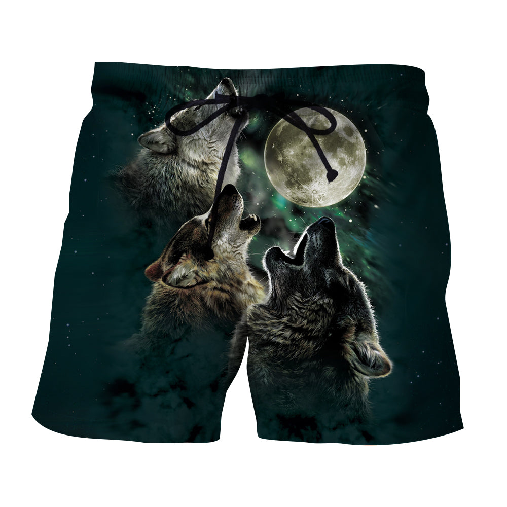 Mysterious Wolves Howling To The Moon Starry Sky Boardshorts