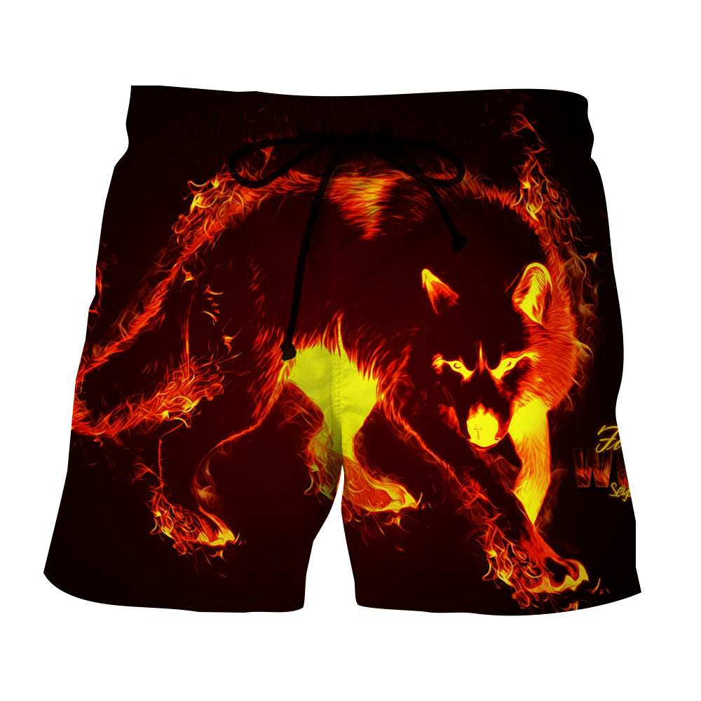 Ferocious Wolf With Blazing Fire Artistic Style Boardshorts