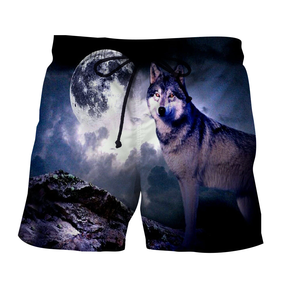Fantasy Looking Lonely Wolf On A Dark Night Cool Boardshorts