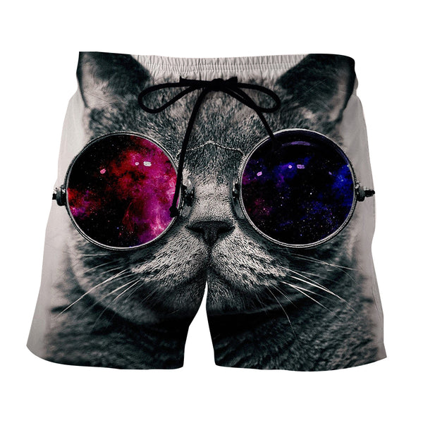 Cool Cat With Fashion Galaxy Sunglasses Art Design Shorts