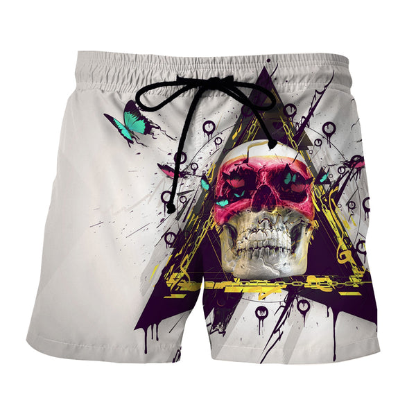 Butterfly Skull Rock-N-Roll Art Design White Shorts