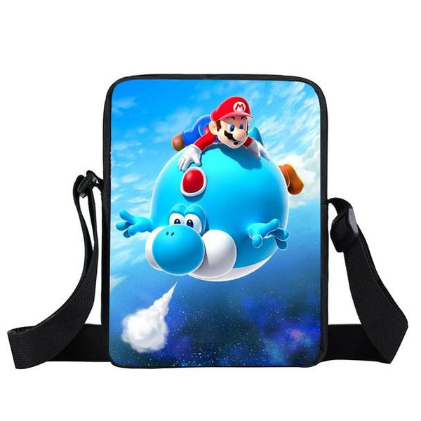 Super Mario Blue Yoshi Fly Cute Trendy Urban Cross Body Bag