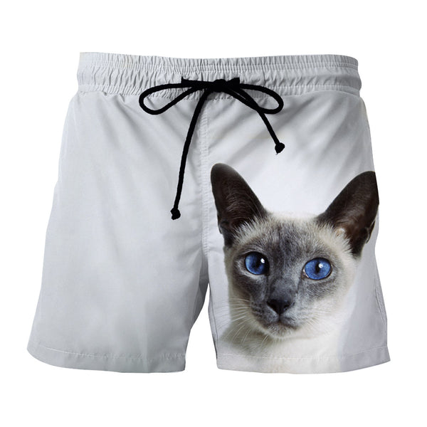 Blue Eye Cat Capturing Simple Art Design Dope Shorts