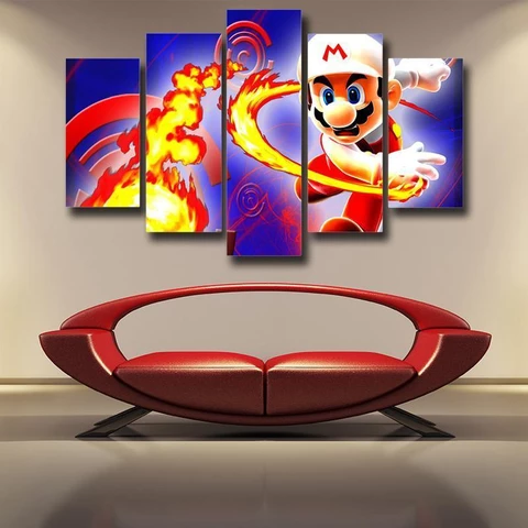 Super Mario Fire Flower 5pc Wall Art Decor Posters Canvas Prints